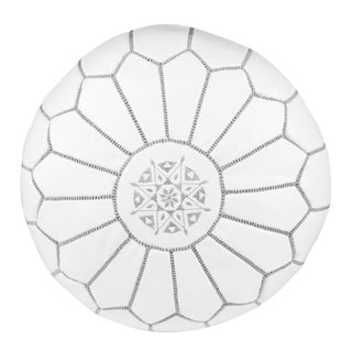 Embroidered Leather Pouf in Gray on White