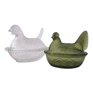 Depression Glass Nesting Hen Serving Bowls - Pair