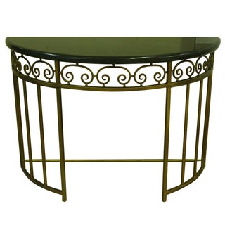 Demilune Metal Console Table With Marble Top