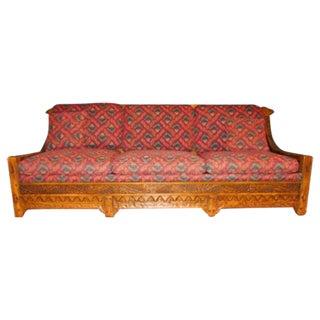 Romweber Viking Oak Carved Wood Low-Arm Sofa