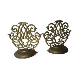 Vintage Scrolled Bookends - Pair