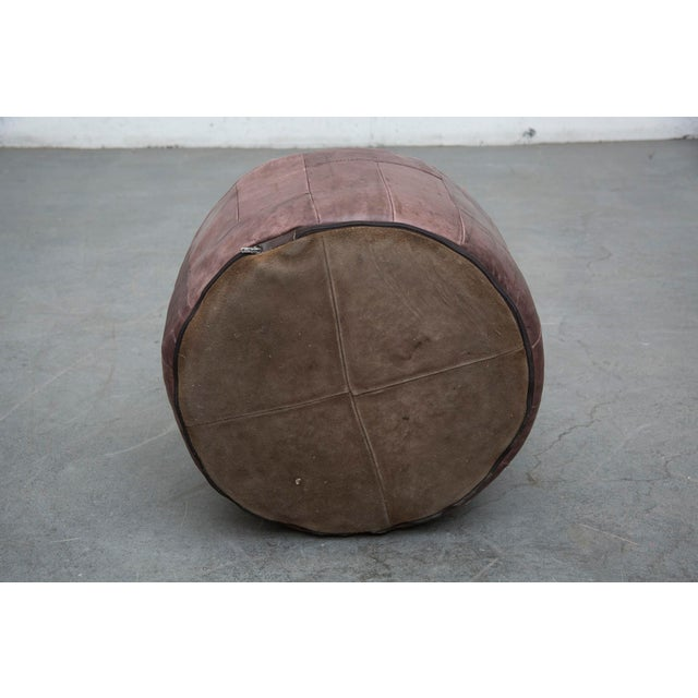 Brown Leather De Sede Style Patchwork Ottoman - Image 3 of 7