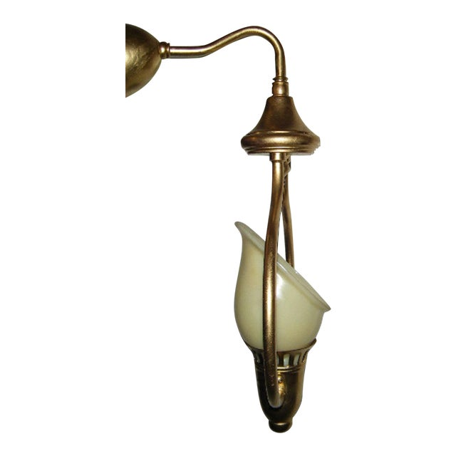 Vintage Glass Wall Sconces : Vintage Wall Sconce With Tulip Shaped Glass Shade Chairish