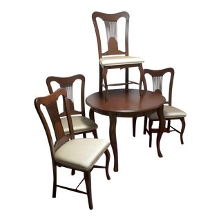 Traditional Style Birch Wood Dining Set - Canadel Table and 4 Chairs