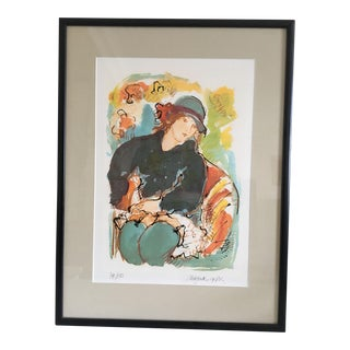 Seated Model Limited Edition Screen Print by Dutch Artist Nic Jonk - 1981