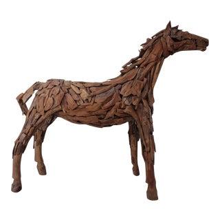 Equestrian Art Life Size Driftwood Horse Sculpture