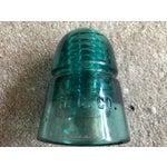 Image of Aqua & Clear Glass Telephone Insulator - 12 Pieces