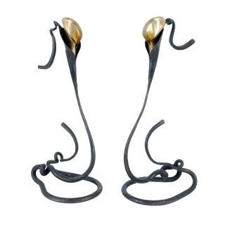 Hand-Forged Lily Candle Holders - Pair