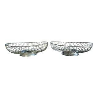 Mid-Century Warren Platner Style Silver Bowl Dish - A Pair
