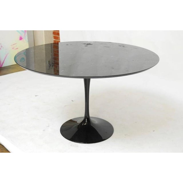 Image of Eero Saarinen Style Black Marble Tulip Dining Table
