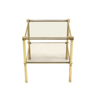 Unusual Brass Square Two-Tier Side or End Table