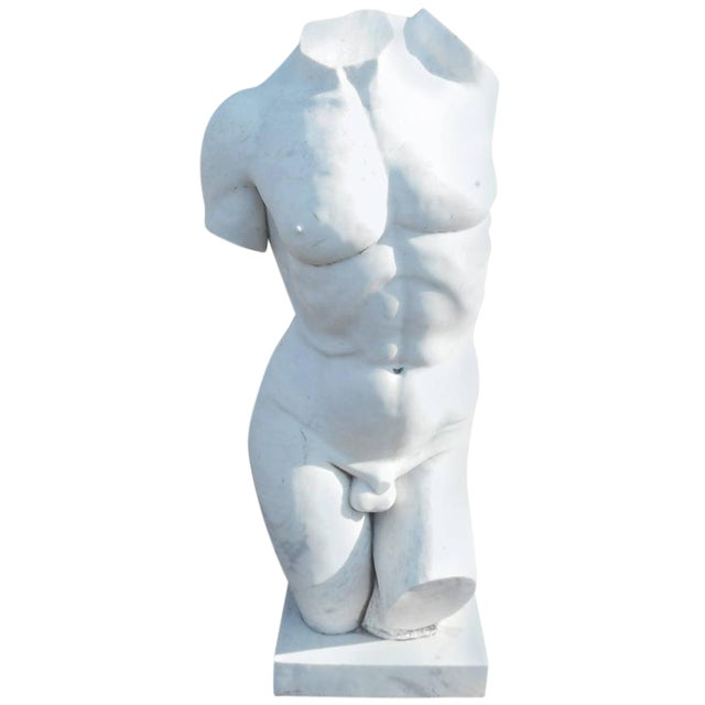 Large Sculpted Male Torso Marble Statue - Image 1 of 4