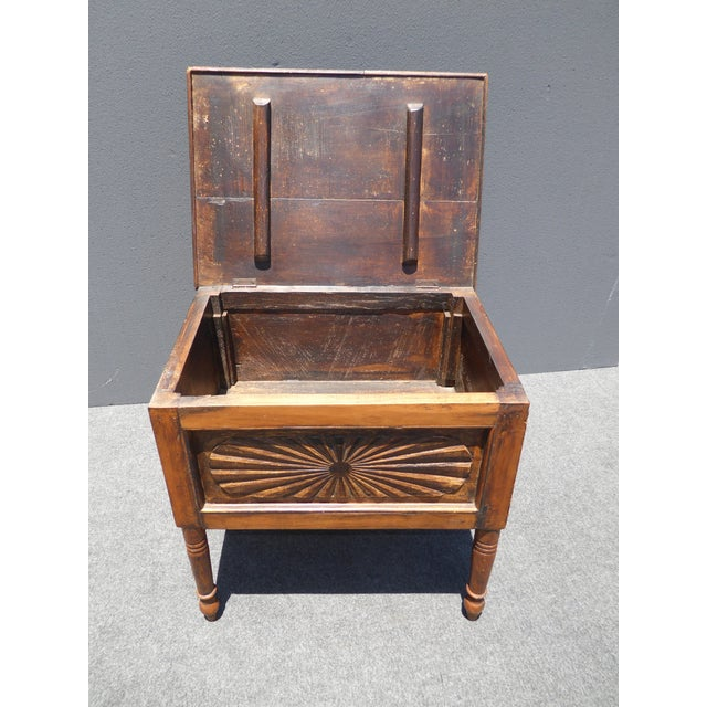 Spanish Style Carved Wood Chest End Table - Image 4 of 11