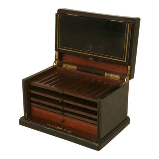 Napoleon III Style Black Lacquer With Brass Inlay Humidor