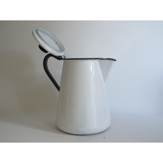 French White & Blue Enamel Coffee Pot - Image 4 of 6