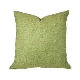 Hand Applique Green Pillow