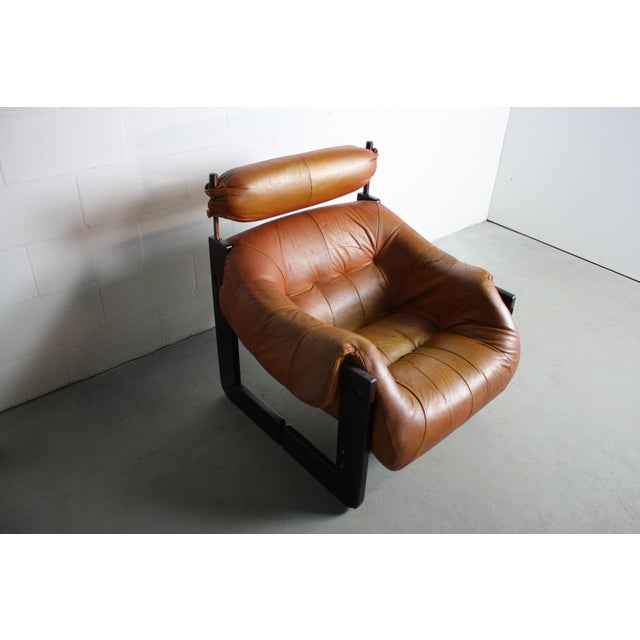 Percival Lafer Rosewood Tan Leather Lounge Chair - Image 2 of 11