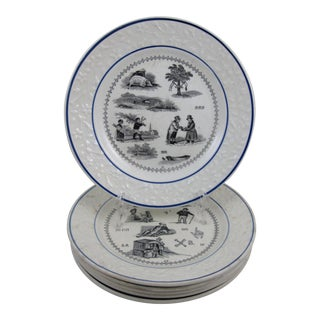French Rebus Picture Puzzle Dessert Plates - S/6