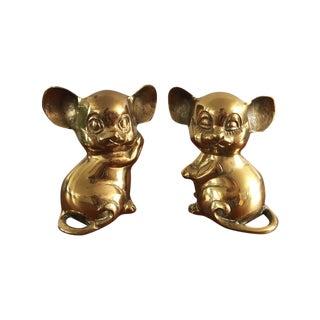 Vintage Brass Mice - Pair