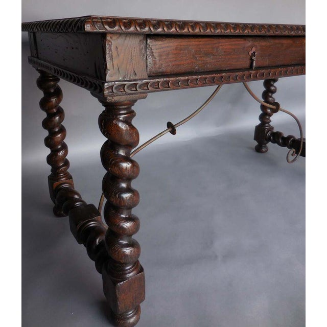 Custom Wood Writing Desk with Spiral Legs, Two Drawers and Iron Supports - Image 5 of 9