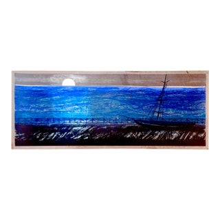 "Howard Bradford 1968 ""Moon Lit Pier"" Serigraph"