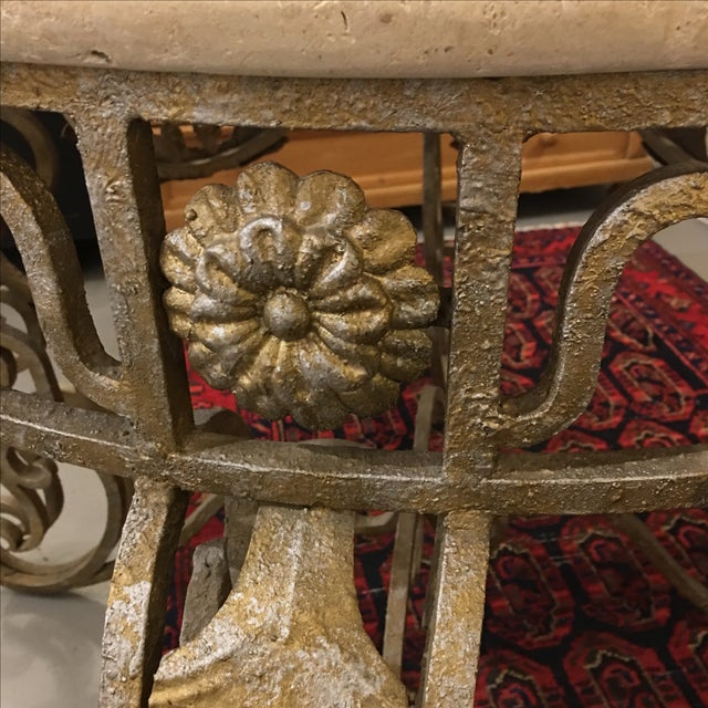 Travertine Top & Gilded Cast Metal Foyer Table - Image 6 of 8