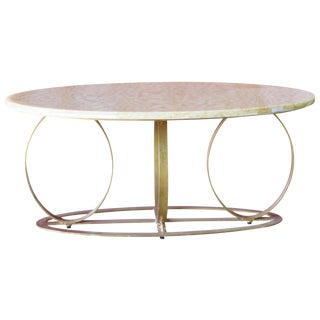 Deco Style Gilt Painted Marbletop Coffee Table