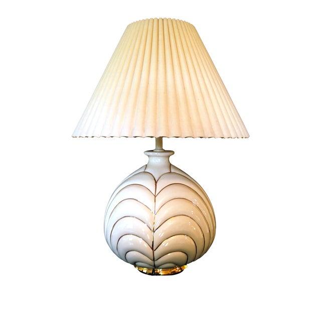 Vintage Modern Porcelain & Gold Table Lamp - Image 1 of 4