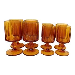 Vintage Indiana Glass Amber Goblets - Set of 8
