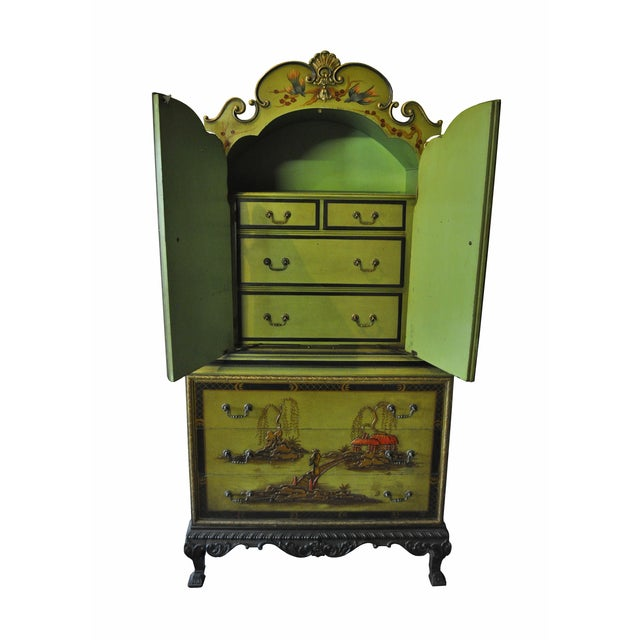 1930s Pear Green Chinoiserie Armoire - Image 3 of 5