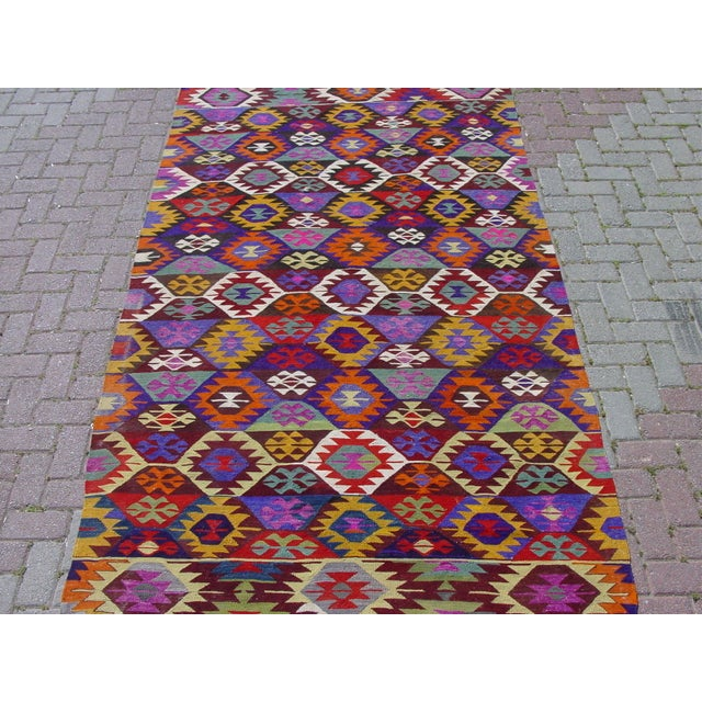"""Vintage Colorful Turkish Kilim Rug - 5'4"""" X 9'1"""""""