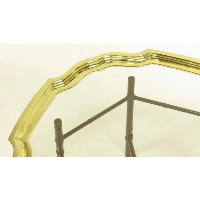 Iron Bamboo-Form Coffee Table With Brass Rimmed Glass Tray - Image 4 of 7