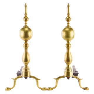 Brass and Iron Andirons - A Pair