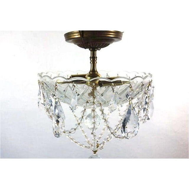 Brass & Draped Crystal Ceiling Fixture - Image 5 of 7