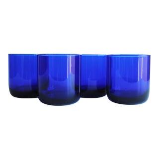 Cobalt Blue Lowball Glasses - Set of 4