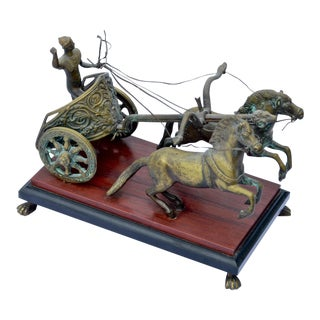 Brass Roman Chariot & Steeds Sculpture
