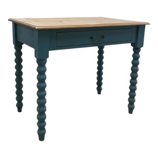 Blue Pine Spindle Leg Writing Desk