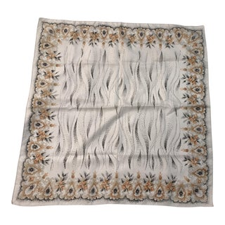 Mid-Century Gray & Brown Pattern Scarf