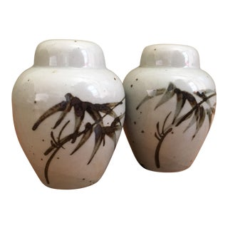 Hand Painted Japanese Salt & Pepper Shakers - A Pair