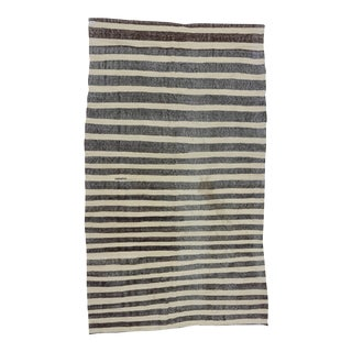 Vintage Black and White Striped Turkish Kilim Rug - 5′11″ × 10′