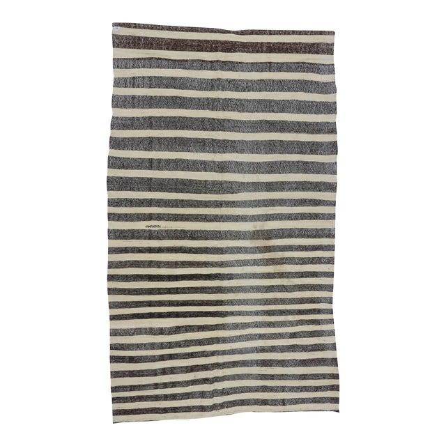 Vintage Black And White Striped Turkish Kilim Rug 5 11