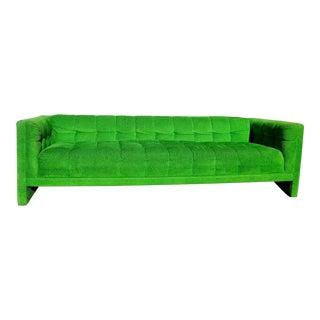 Vintage Mod Retro Mid-Century Modern Kelly Green Velvet Sofa