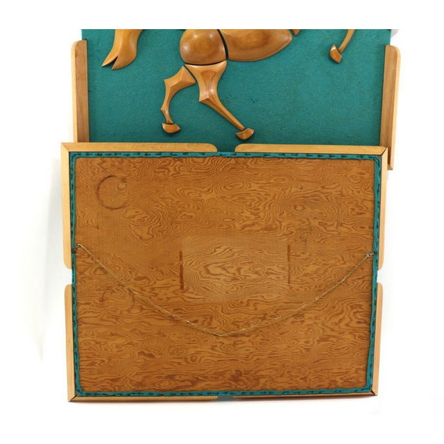 1950s Turquoise Wood & Wool Horse Wall Art -A Pair - Image 5 of 6