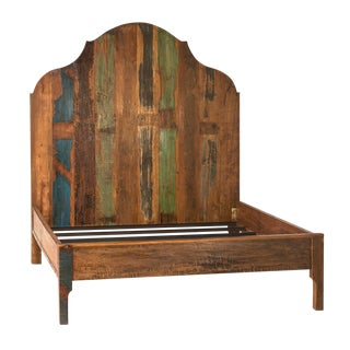 Distressed Painted Wood Bed Queen