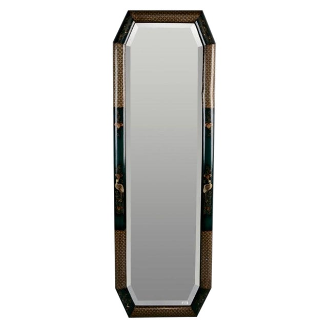 Tall narrow chinoiserie beveled mirror chairish for Narrow mirror