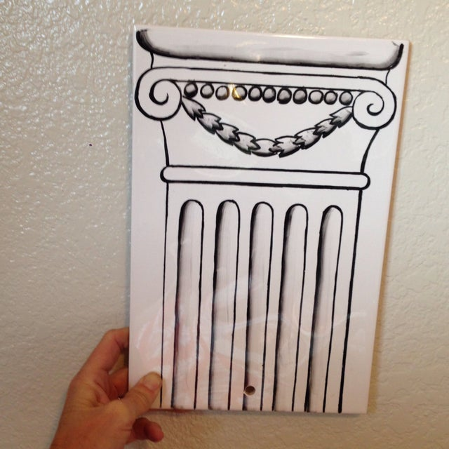 Column Painted Tile Wall Sconce - Image 6 of 8