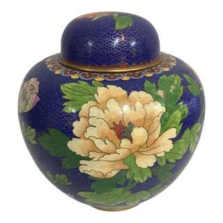 Peony Motif Cloisonné Ginger Jar