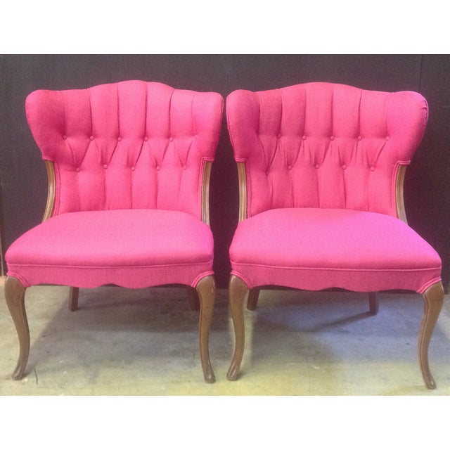 Hot Pink Regency-Style Chairs- A Pair - Image 2 of 6