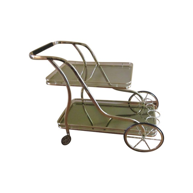 Vintage Italian Polished Brass Trolley Bar Cart - Image 1 of 5