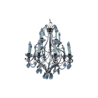 Art Deco Pewter and Crystal French Chandelier